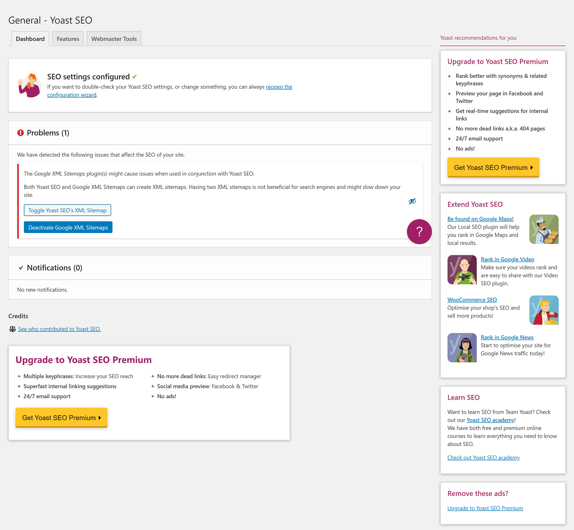 The Yoast SEO Dashboard