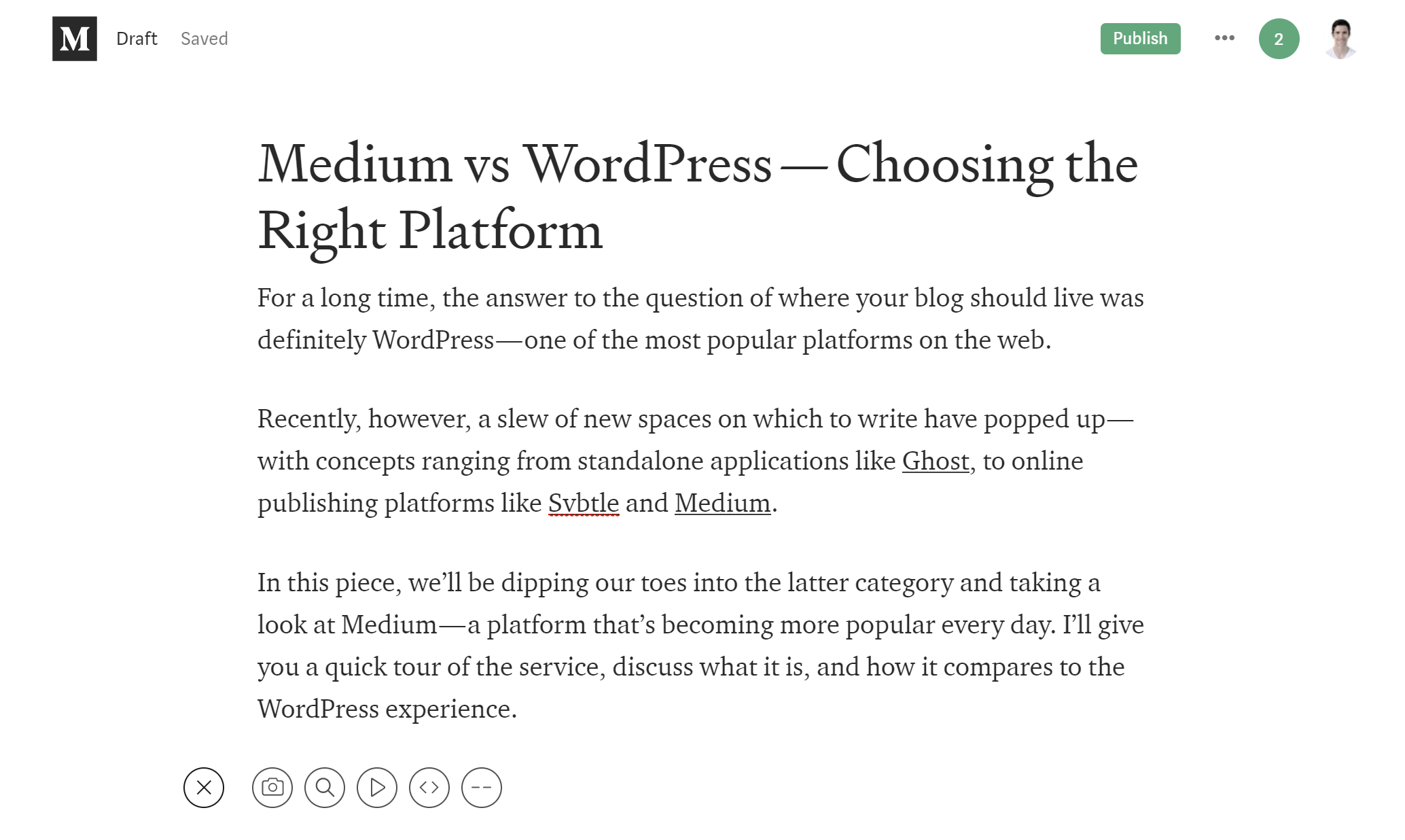 The Medium writing editor