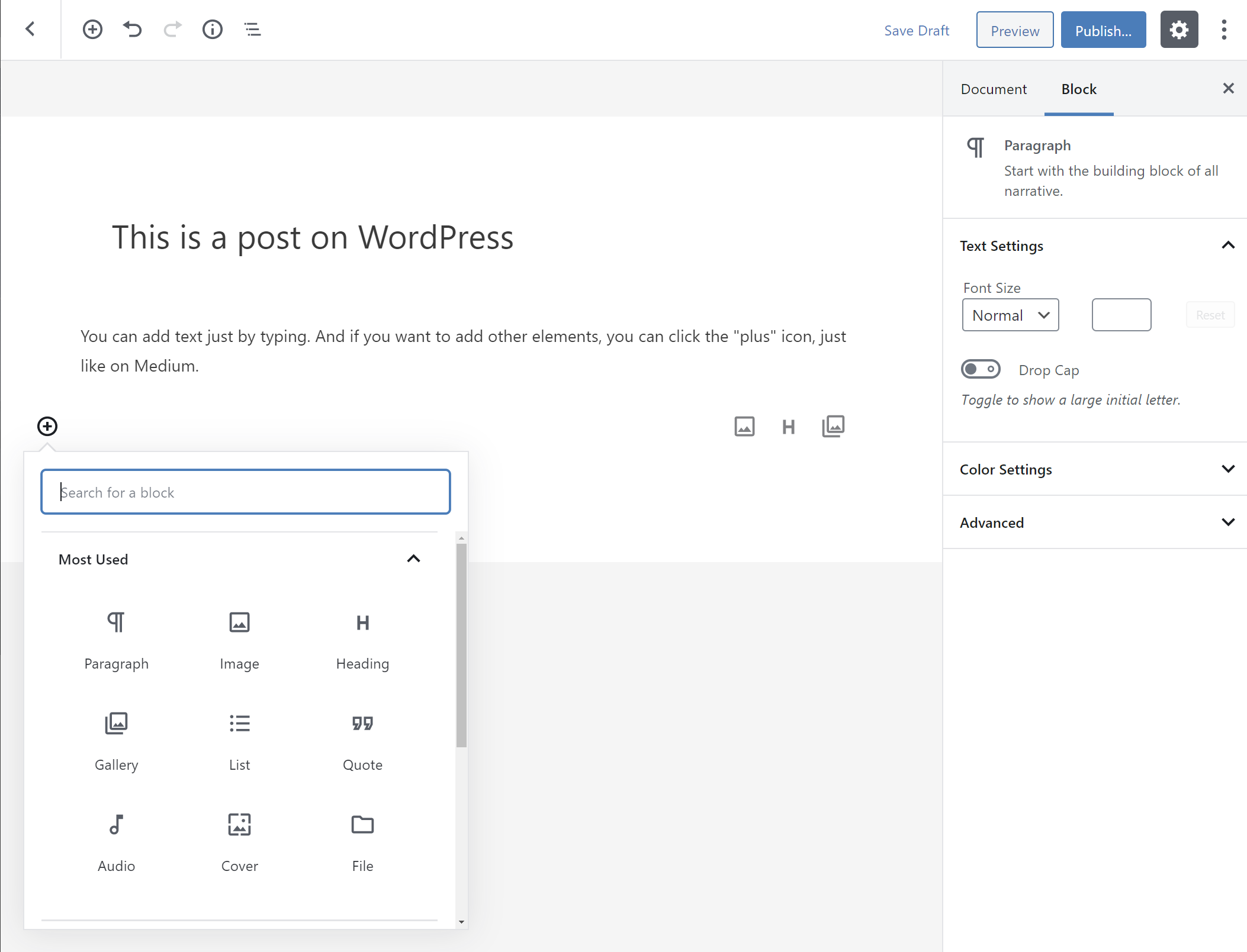The new WordPress block editor