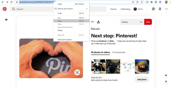 Copy Pinterest Pin URL