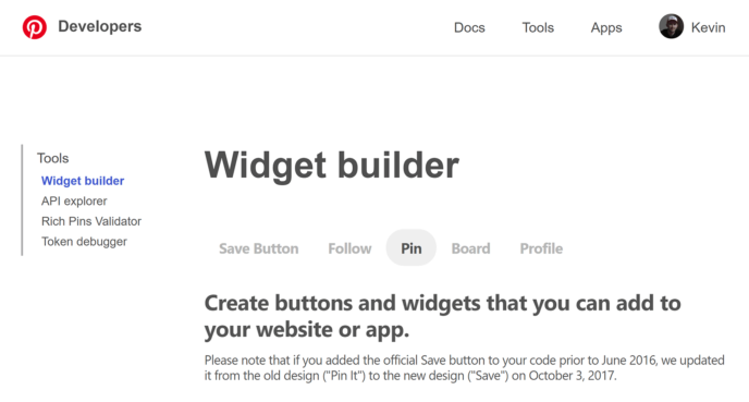 The Pinterest Widget Builder